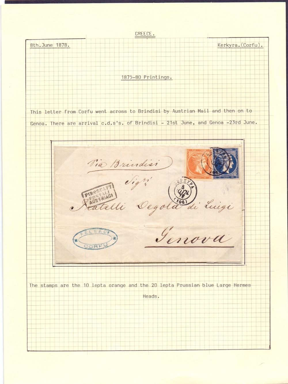 Postal History , stamps : GREECE, 1878 e
