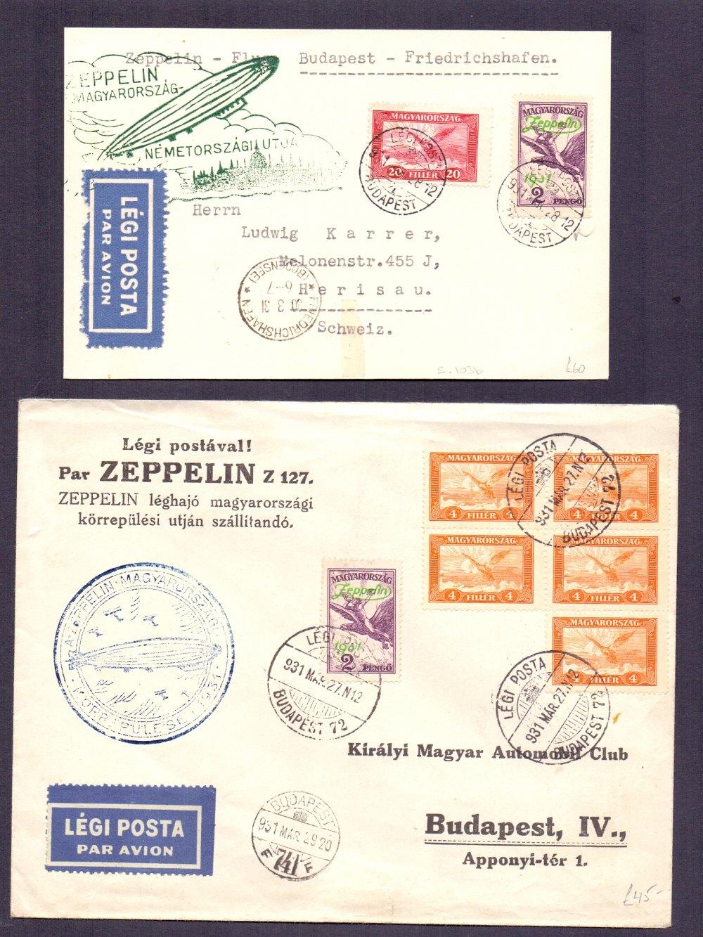 Lot 103 - Postal History , Airmail : HUNGARY, pair