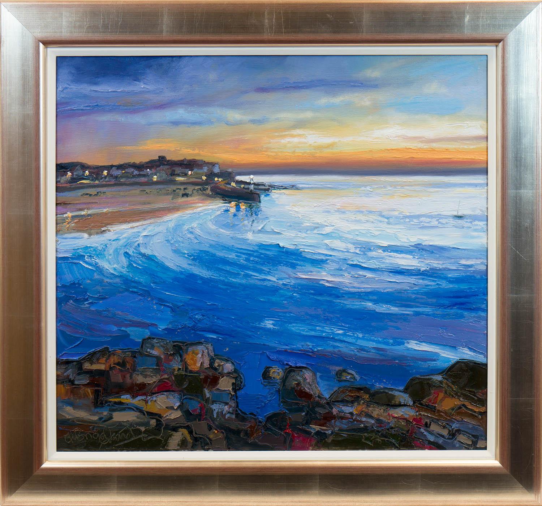 * JUDITH BRIDGLAND, CALM SEA, ST. IVES oil on linen, signed 61.5cm x 66.