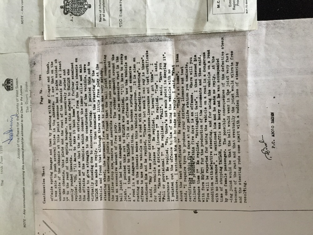 MOTORHEAD & PHILTHY ANIMAL - 2 separate police/court documents from 1976 and 1978 relating to - Image 5 of 5