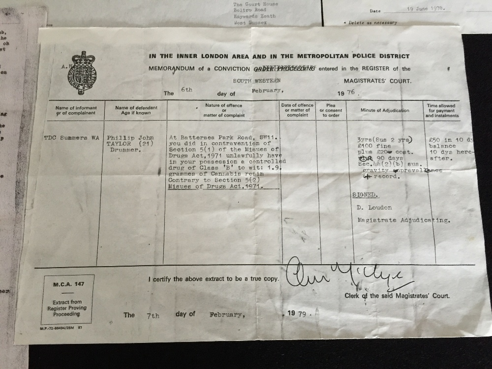 MOTORHEAD & PHILTHY ANIMAL - 2 separate police/court documents from 1976 and 1978 relating to - Image 2 of 5