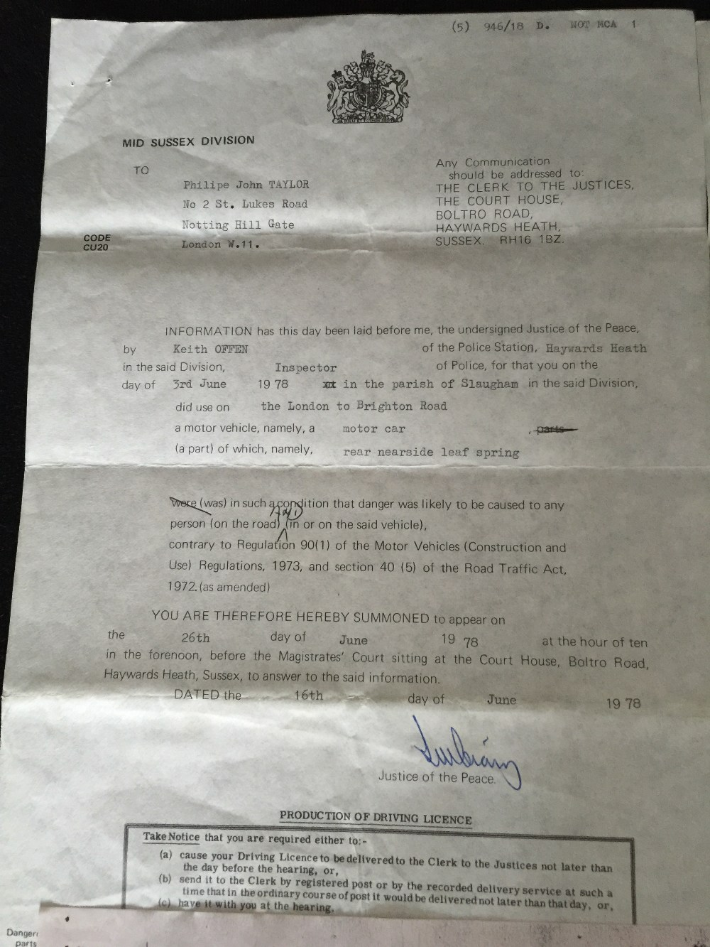 MOTORHEAD & PHILTHY ANIMAL - 2 separate police/court documents from 1976 and 1978 relating to - Image 3 of 5