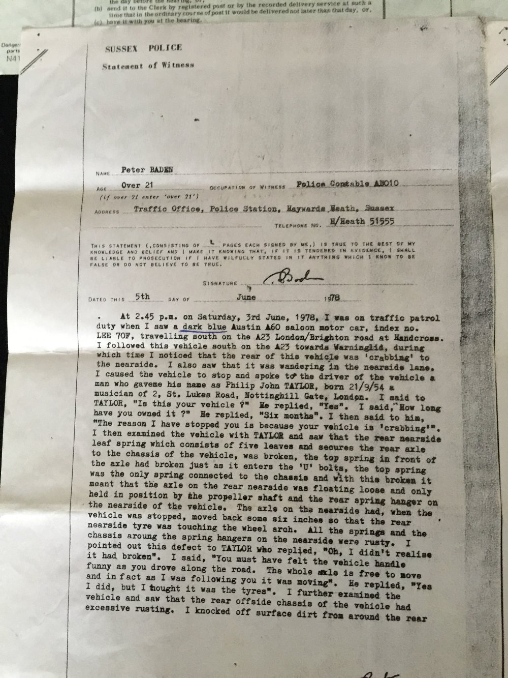 MOTORHEAD & PHILTHY ANIMAL - 2 separate police/court documents from 1976 and 1978 relating to - Image 4 of 5