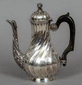 A 19th century French silver coffee pot, with Minerva hallmark,
