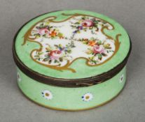 A Sevres style French porcelain patch box  Of circular form,