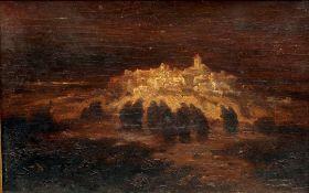 AGUDO CLARA (19th century) Spanish Pilgrimage Oil on board 29.