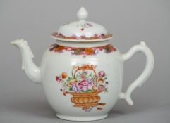 A 19th century Chinese porcelain teapot and cover Decorated with opposing baskets of flowers.