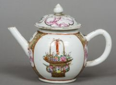 An 18th century Chinese porcelain bullet teapot Decorated in the famille rose palette with scenic