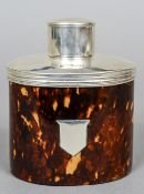 A Victorian silver mounted tortoiseshell tea canister, hallmarked Chester 1894,