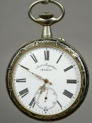 A Doxa niello decorated pocket watch Of large proportions,