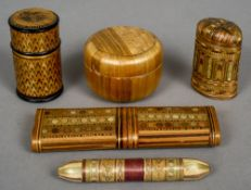 A collection of various 19th century straw work boxes Including: a vesta, needle cases, etc.