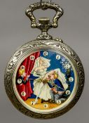 A large silver plated pocket watch The dial painted with an erotic scene,