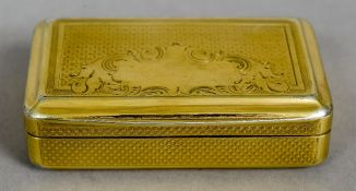 An early 19th century Continental silver gilt snuff box Of domed rectangular form,