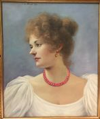 CONTINENTAL SCHOOL (20th/21st century) Portrait of a Lady Wearing a Coral Necklace Oil on
