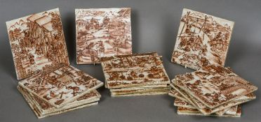 A set of twenty-four Export porcelain tiles Each painted with a scene relating to Chinese porcelain