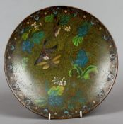 A Chinese cloisonne plate Decorated with birds and insects amongst floral sprays.  30.5 cm diameter.