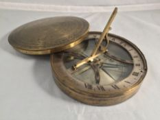 A 19th century lacquered brass cased pocket sundial compass by Spear,