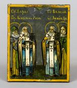 A small Russian painted icon Decorated with four named saints, variously inscribed to verso.