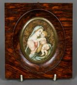 CONTINENTAL SCHOOL (19th century) Madonna and Child Watercolour on ivory Signed with initials 13 x
