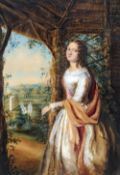 ENGLISH SCHOOL (19th century) Young Woman in a Gazebo With Rural Landscape Beyond Watercolour 37 x