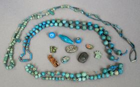 A collection of Egyptian faience beads, circa 100 BC to 100 AD Strung as three necklaces,