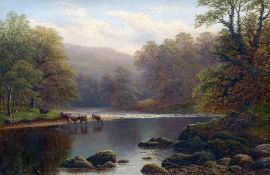 WILLIAM MELLOR (1851-1931) British On the Wharfe, Yorkshire Oil on canvas Signed,