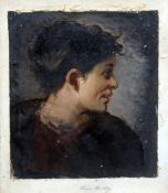 FRANS HUARD (flourished 1872-1879) British  Portrait Study Oils on canvas laid on paper Signed to