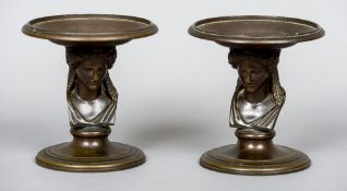 A pair of 19th century Barbedienne patinated bronze tazza Each dished top supported by a female