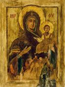 A large Russian icon Typically decorated, painted on a wooden panel.  49.5 cm high.