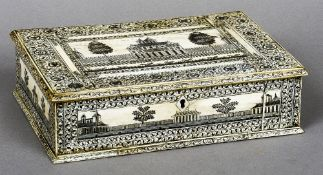 A 19th century ivory Vizigapatam box Of hinged rectangular form,