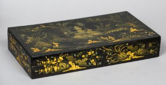 A Regency chinoiserie lacquered box and cover Of rectangular form,