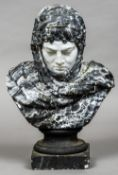 A Victorian plaster bust Modelled as a figure in a faux marbleised shawl.  68 cm high.