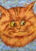 After LOUIS WAIN Ginger Cat Bodycolour Bears signature 20 x 28 cm,