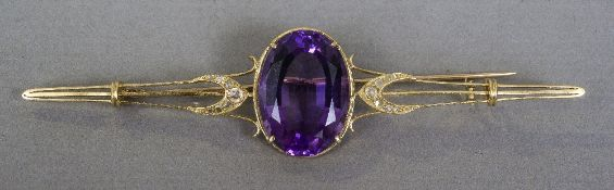 An 18 ct gold amethyst and rose diamond bar brooch 9 cm wide.