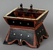 An Eastern inlaid and lacquered desk/mixing stand The well with three further compartments with