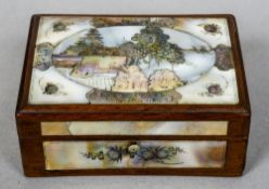 A late 19th/early 20th century Oriental mother-of-pearl mounted wooden box The hinged lid decorated