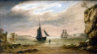 ENGLISH SCHOOL (19th century) Ships at Anchor Off the Coast Oils on board 30 x 16.