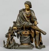 A 19th century bronzed Art metal group Modelled as Marco Polo sat on a capstan flanked with naval