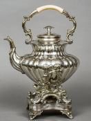 A Victorian silver plated spirit kettle Of baluster lobed form,