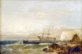 WILLIAM HENRY WILLIAMSON (1820-1883) British Shipping Off the Coast Oil on panel Signed with