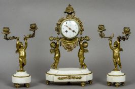 A French bronze and white marble triple clock garniture The 4 inch indistinctly signed white