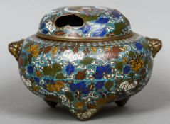 A late 19th century Japanese enamel decorated bronze koro Of typical form with pierced lid and twin