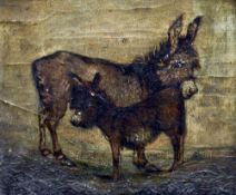 NAIVE SCHOOL (19th century) Donkeys in a Landscape Oil on canvas 24 x 20.