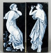 A pair of small Limoges Art Nouveau enamel plaques Each decorated with a young lady in white on a