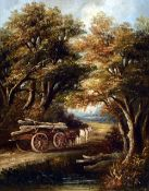 Attributed to JOSEOH PAUL (1804-1887) British Log Cart on a Country Lane Oil on panel Indistinctly