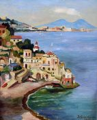 ITALIAN SCHOOL (20th century)  Bay of Naples Oil on board Indistinctly signed and inscribed 28 x 35