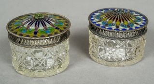 Two similar early 20th century cut glass, silver and plique a jour enamel circular pots Each 5.