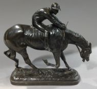 After JOHN WILLIS GOOD (1845-1879) British Horse with Jockey Up Bronze Signed and dated 1875 within