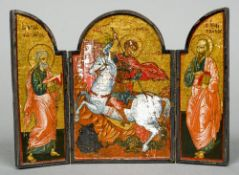 An early 20th century, probably Russian, painted travelling triptych icon Worked with St.