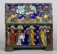 A Continental Arts & Crafts enamelled casket Decorated with religious scenes.  16 cm wide.